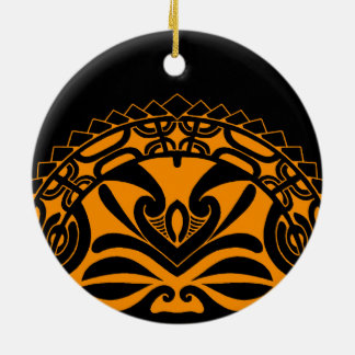 Polynesian tiki mask design round ceramic ornament