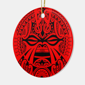 Polynesian tiki mask tattoo totem face round ceramic ornament