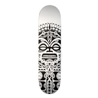 Polynesian Tiki tribal mask tattoo Skateboard
