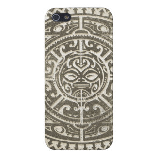 Polynesian Tribal Face Brown iPhone 5/5S Case