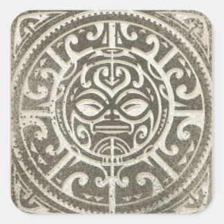 Polynesian Tribal Face Brown Square Sticker