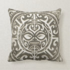 Polynesian Tribal Face Brown Throw Pillow