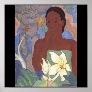 Polynesian Woman and Tiki by Arman Manookian, 1929 Poster