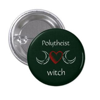 Polytheist witch badge / 1 inch round button