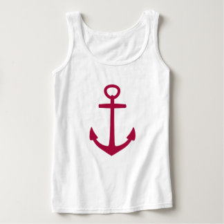 Pom Juice Anchor on White Tank Top