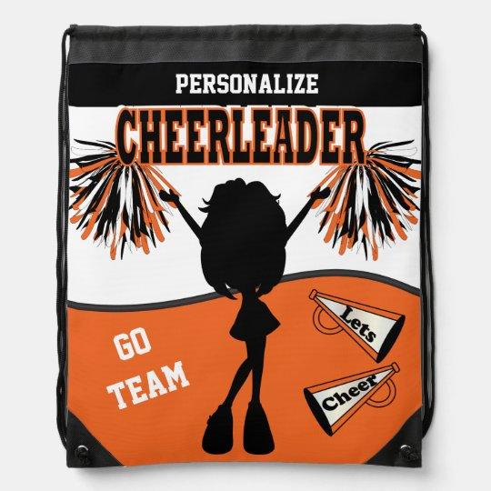 Pom Pom Cheerleader | Orange White Black Drawstring Backpacks