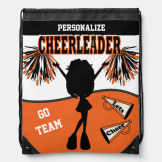 Pom Pom Cheerleader | Orange White Black Drawstring Bag