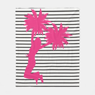 Pom Pom Cheerleader Pink Stripes Fleece Blanket