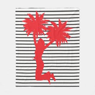 Pom Pom Cheerleader Red Stripes Fleece Blanket