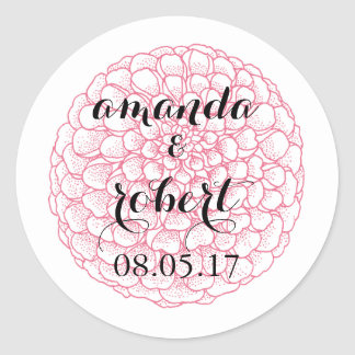 Pom Pom Dahlia Favor Stickers- Pink + Black Classic Round Sticker