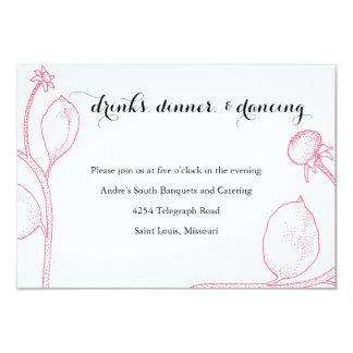 Pom Pom Dahlia Reception Card- Peony Pink + Black Card