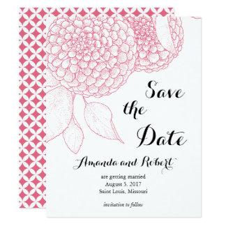 Pom Pom Dahlia Save the Date Card- Peony Pink Card