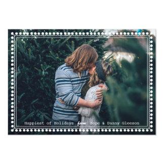 Pom Pom Framed Simple Holiday Photo Card