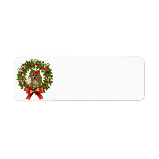 Pom Wreath Holiday Label Return Address Label
