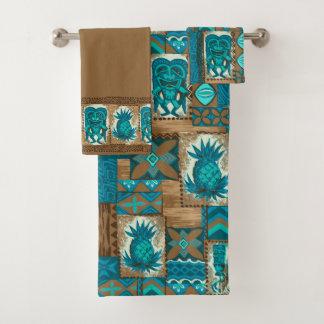 Pomaika'i Tiki Hawaiian Tapa Coordinate - Brown Bath Towel Set