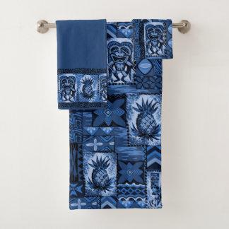 Pomaika'i Tiki Hawaiian Tapa Coordinate - Indigo Bath Towel Set