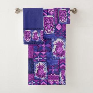 Pomaika'i Tiki Hawaiian Tapa Coordinate - Purple Bath Towel Set