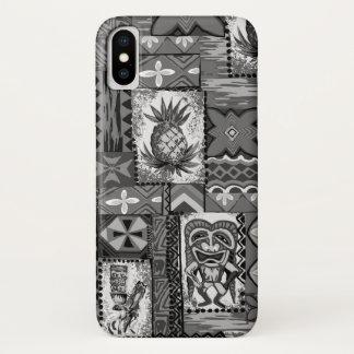 Pomaika'i Tiki Hawaiian Vintage Tapa Gray iPhone X Case