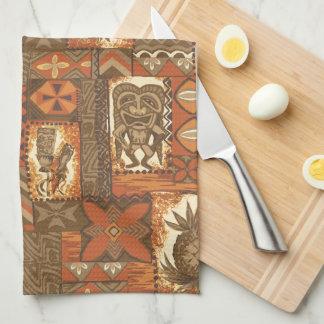 Pomaika'i Tiki Hawaiian Vintage Tapa Kitchen Towel
