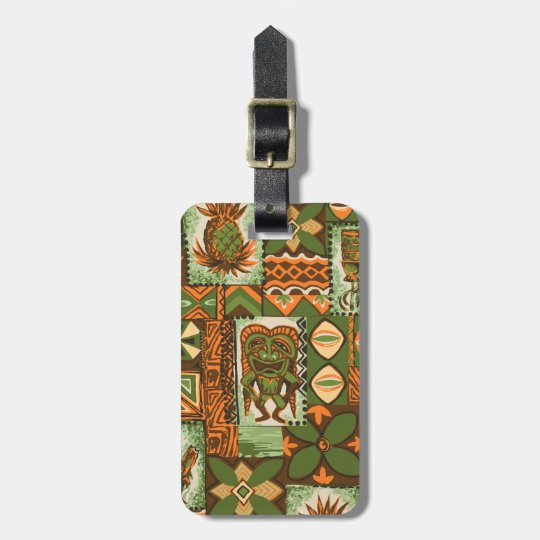 Pomaika'i Tiki Hawaiian Vintage Tapa Luggage Tag