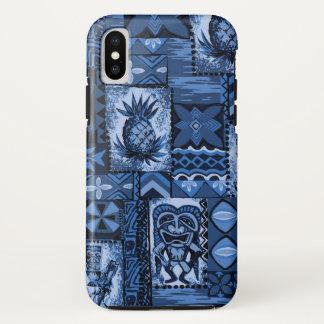 Pomaika'i Tiki Hawaiian Vintage Tapa Navy iPhone X Case