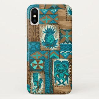 Pomaika'i Tiki Hawaiian Vintage Tapa Turq Case-Mate iPhone Case