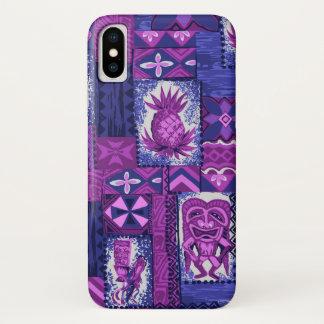 Pomaika'i Tiki Hawaiian Vintage Tapa Violet iPhone X Case