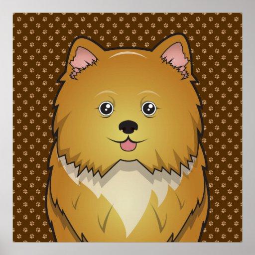 Pomapoo Dog Cartoon Paws Poster