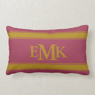 Pomegranate and Tapestry Gold Stripe Monogram Lumbar Pillow