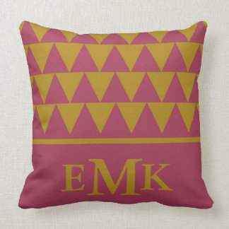 Pomegranate and Tapestry Gold Triangle Monogram Throw Pillow
