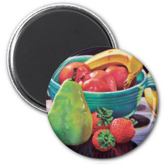 Pomegranate Banana Berry Pear Reflection 2 Inch Round Magnet