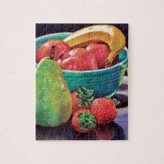 Pomegranate Banana Berry Pear Reflection Jigsaw Puzzle