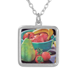 Pomegranate Banana Berry Pear Reflection Silver Plated Necklace