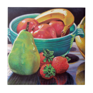 Pomegranate Banana Berry Pear Reflection Tile