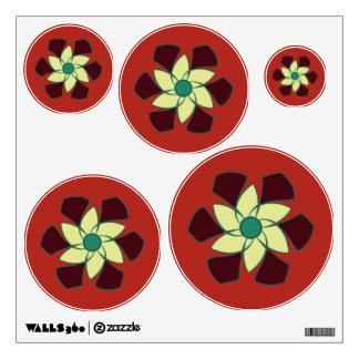 Pomegranate Crescent Spiral Flower Mandala Wall Sticker