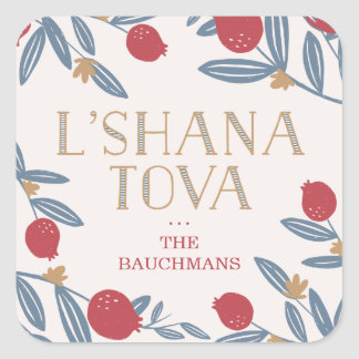 Pomegranate Florals Rosh Hashanah Square Sticker