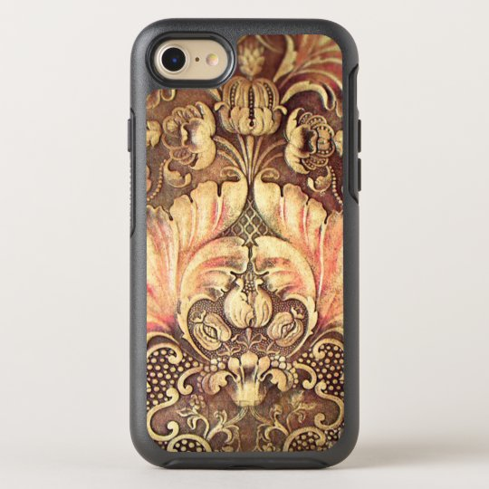 Pomegranate Flower Wood Carving Burnished Tan OtterBox Symmetry iPhone 8/7 Case
