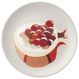 Pomegranate fruit illustration plate