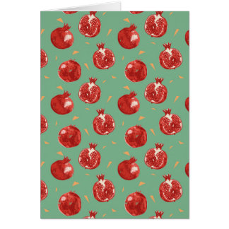 Pomegranate Fruit Vector Seamless Pattern Card