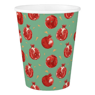 Pomegranate Fruit Vector Seamless Pattern Paper Cup