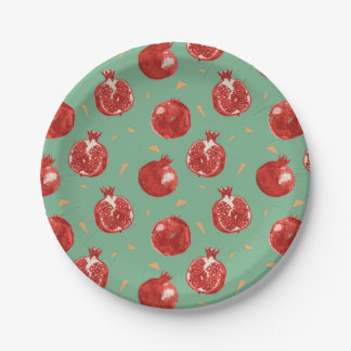 Pomegranate Fruit Vector Seamless Pattern Paper Plate