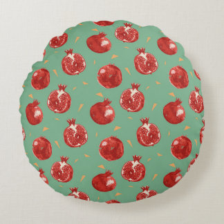 Pomegranate Fruit Vector Seamless Pattern Round Pillow