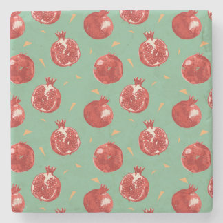 Pomegranate Fruit Vector Seamless Pattern Stone Coaster