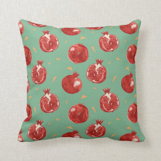 Pomegranate Fruit Vector Seamless Pattern Throw Pillow