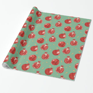 Pomegranate Fruit Vector Seamless Pattern Wrapping Paper