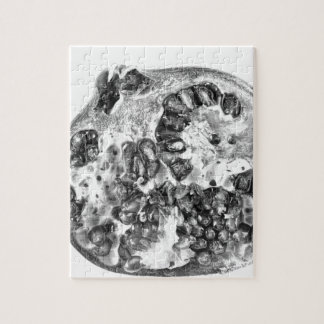Pomegranate in Black and White Jigsaw Puzzle