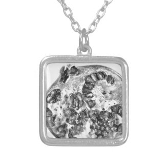 Pomegranate in Black and White Silver Plated Necklace