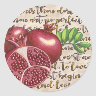 Pomegranate Love Once Again Classic Round Sticker