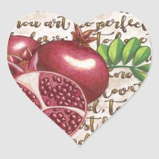 Pomegranate Love Once Again Heart Sticker