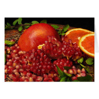 Pomegranate, Orange and Mint Card